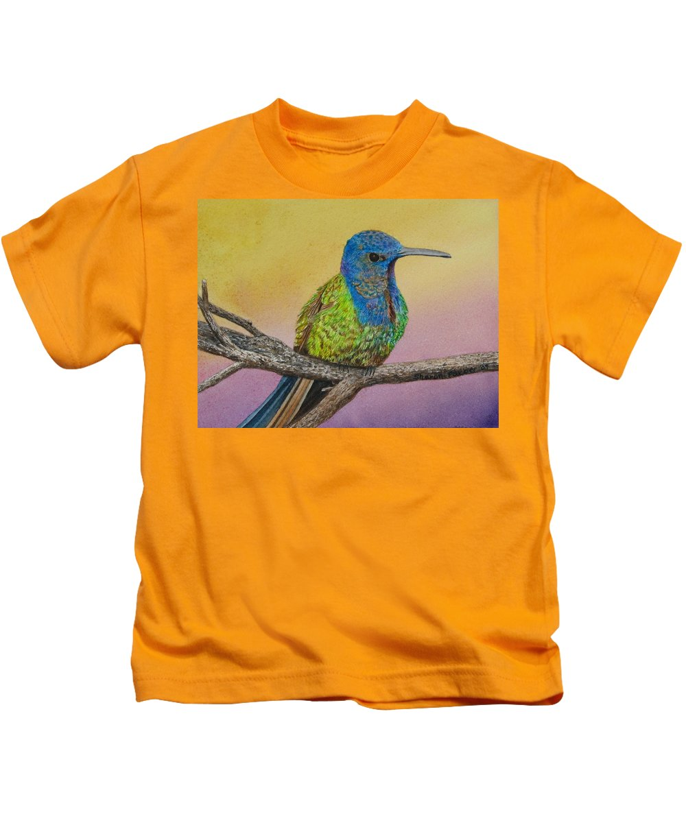 Hummingbird Kids T-Shirt featuring the painting Swallow-tailed Hummingbird by Sharon Farber