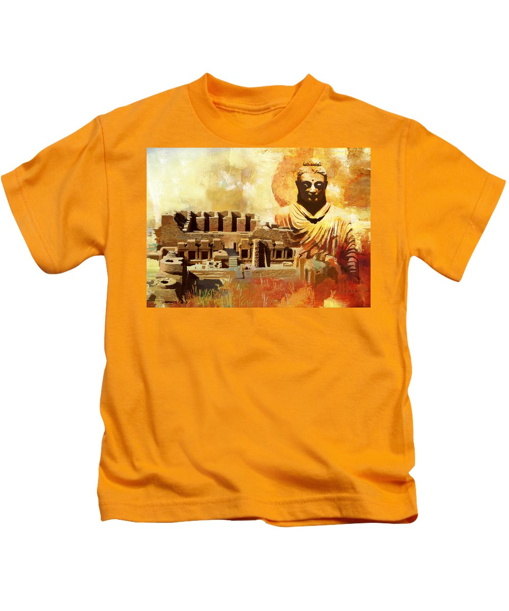 Pakistan Kids T-Shirt featuring the painting Takhat Bahi Unesco World Heritage Site by Catf