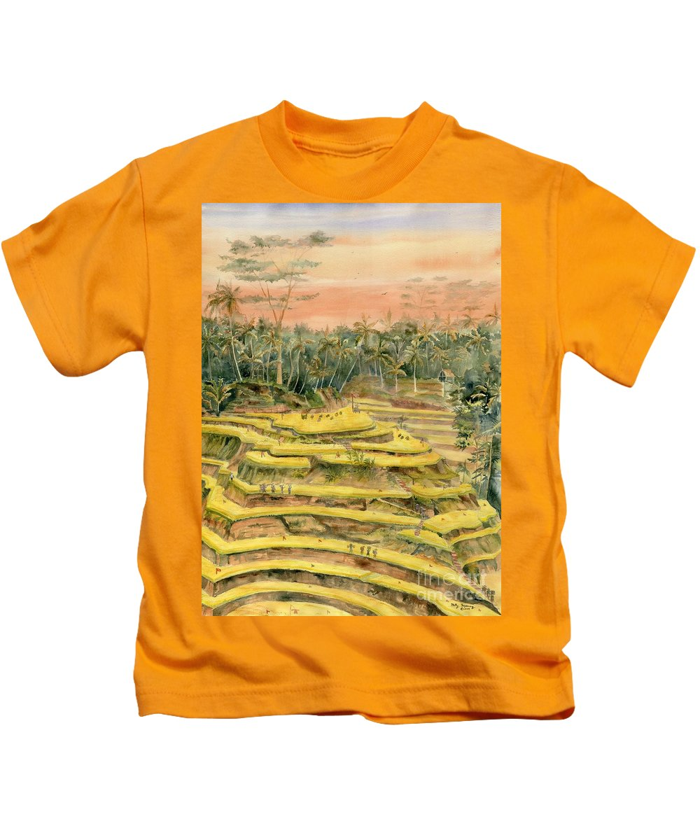 Ricefield Terrace Kids T-Shirt featuring the painting Tegallalang Rice Terraces by Melly Terpening