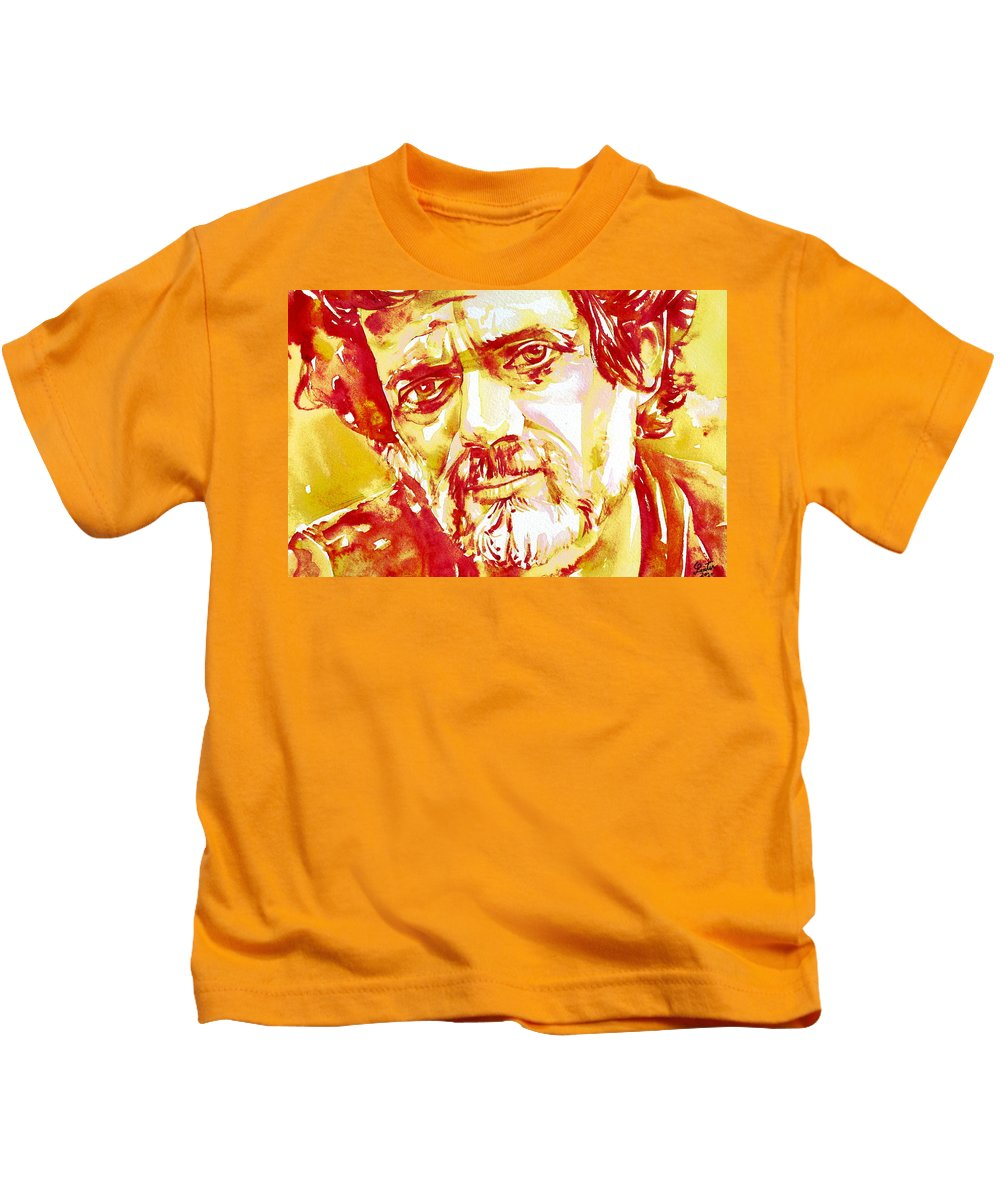 Terence Kids T-Shirt featuring the painting Terence Mckenna Watercolor Portrait.2 by Fabrizio Cassetta