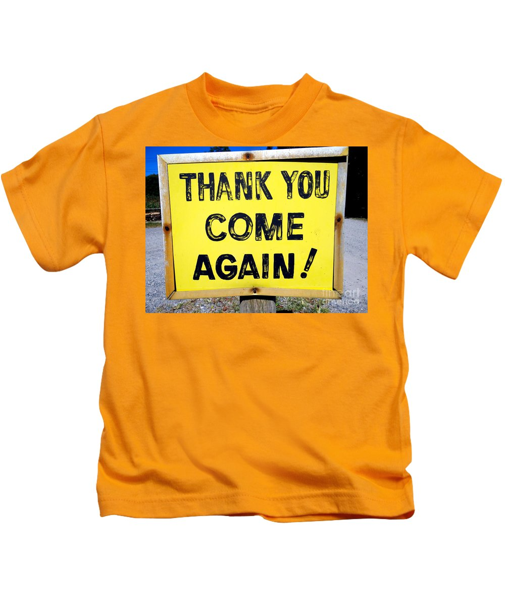 Sign Kids T-Shirt featuring the photograph Thank You Come Again by Ed Weidman