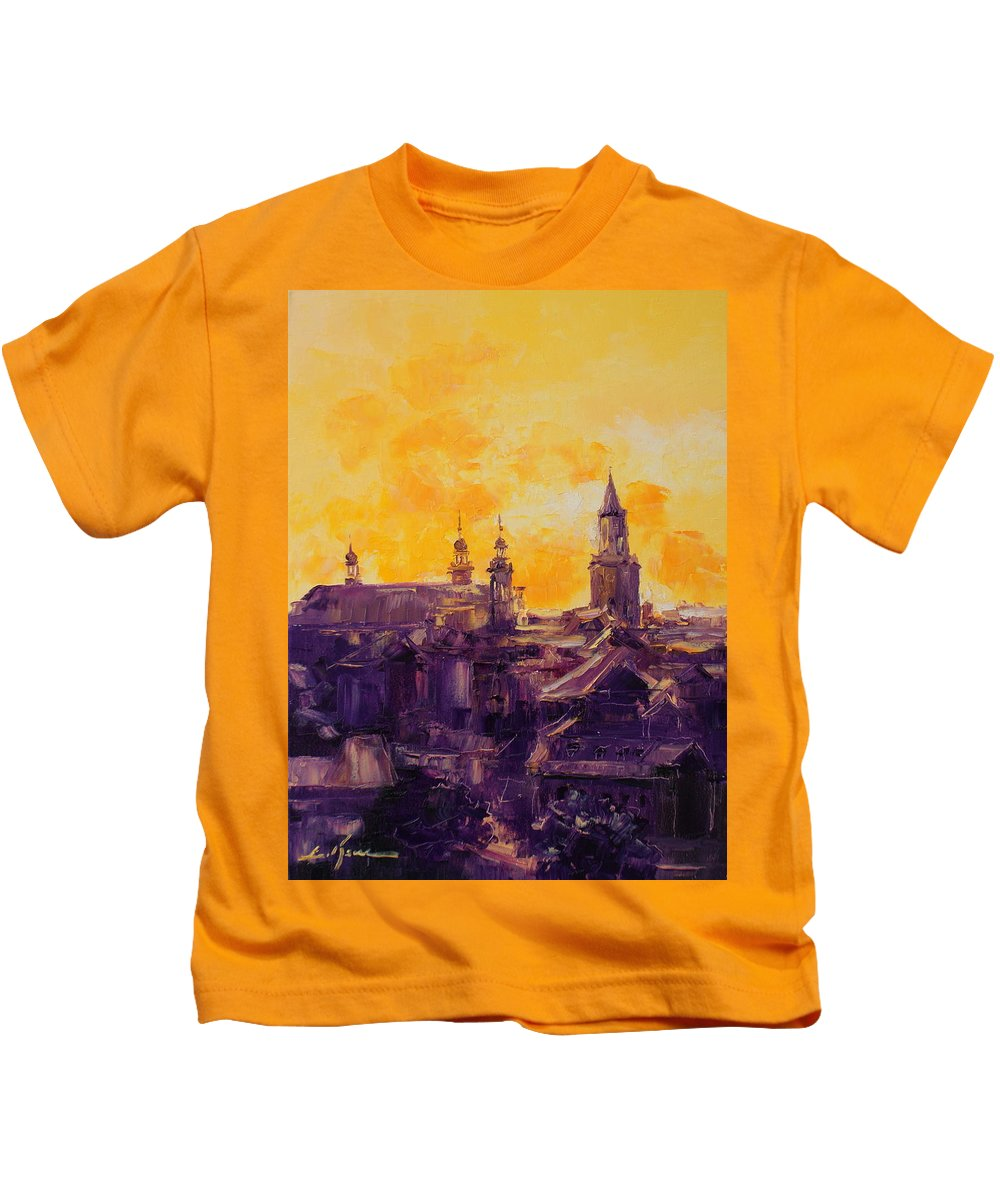 Lublin Kids T-Shirt featuring the painting The Roofs Of Lublin by Luke Karcz