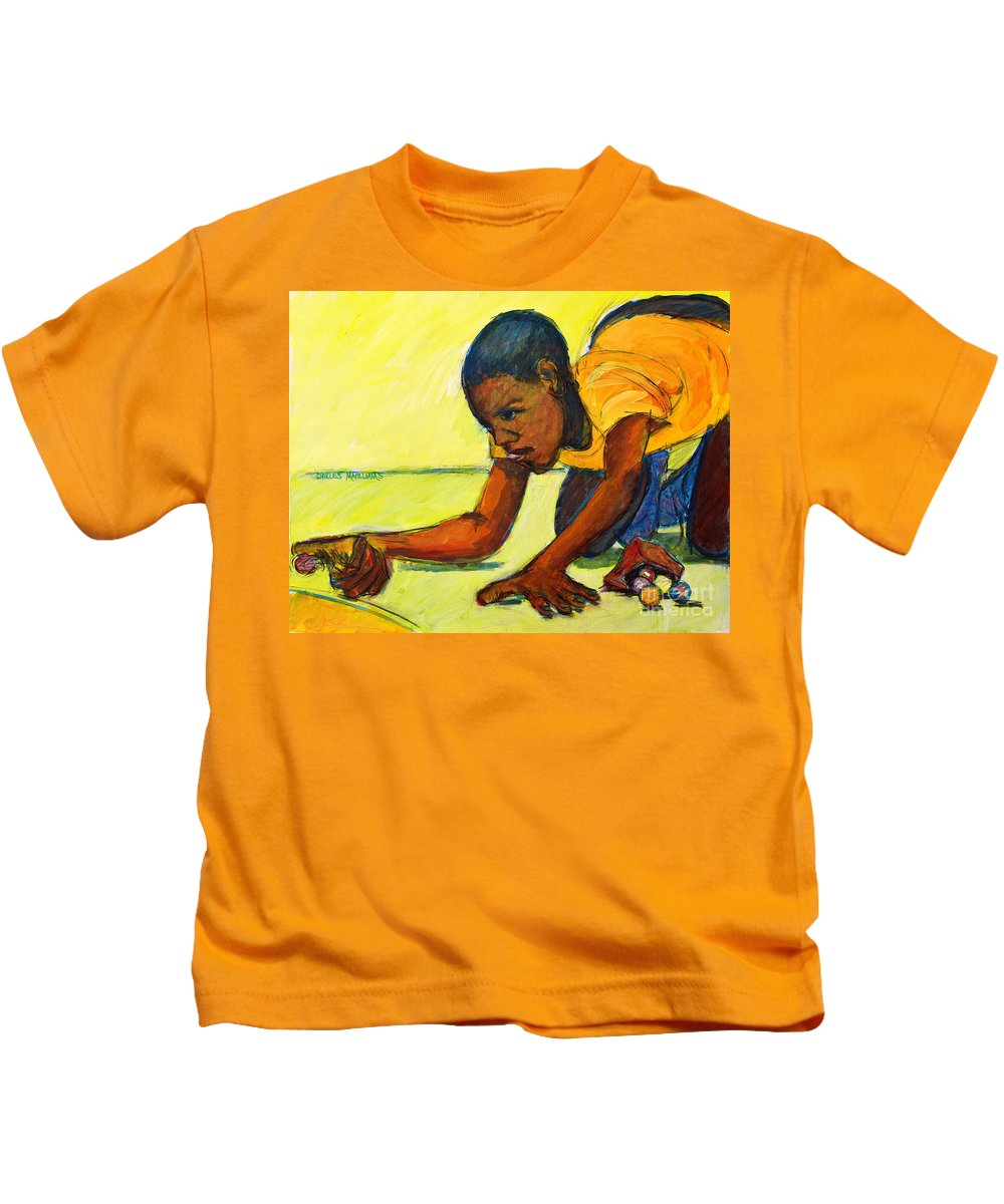 Marbles Kids T-Shirt featuring the painting The Shot by Charles M Williams