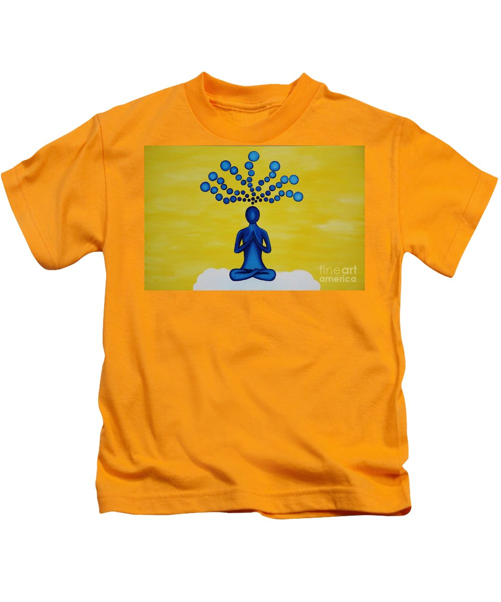 Yoga Kids T-Shirt featuring the painting Thoughts by Janell R Colburn