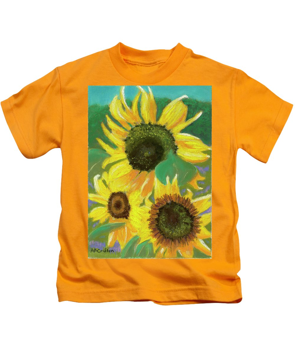 Sunflowers Kids T-Shirt featuring the painting Triple Gold by Arlene Crafton