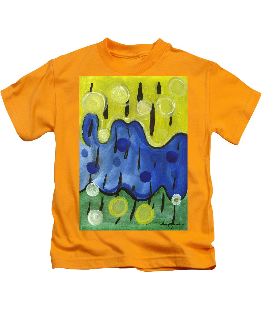 Abstract Art Kids T-Shirt featuring the painting Tropical Rain by Stephen Lucas