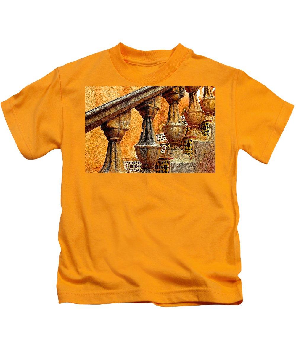 Stairs Kids T-Shirt featuring the digital art Upwards by Barbara Zahno