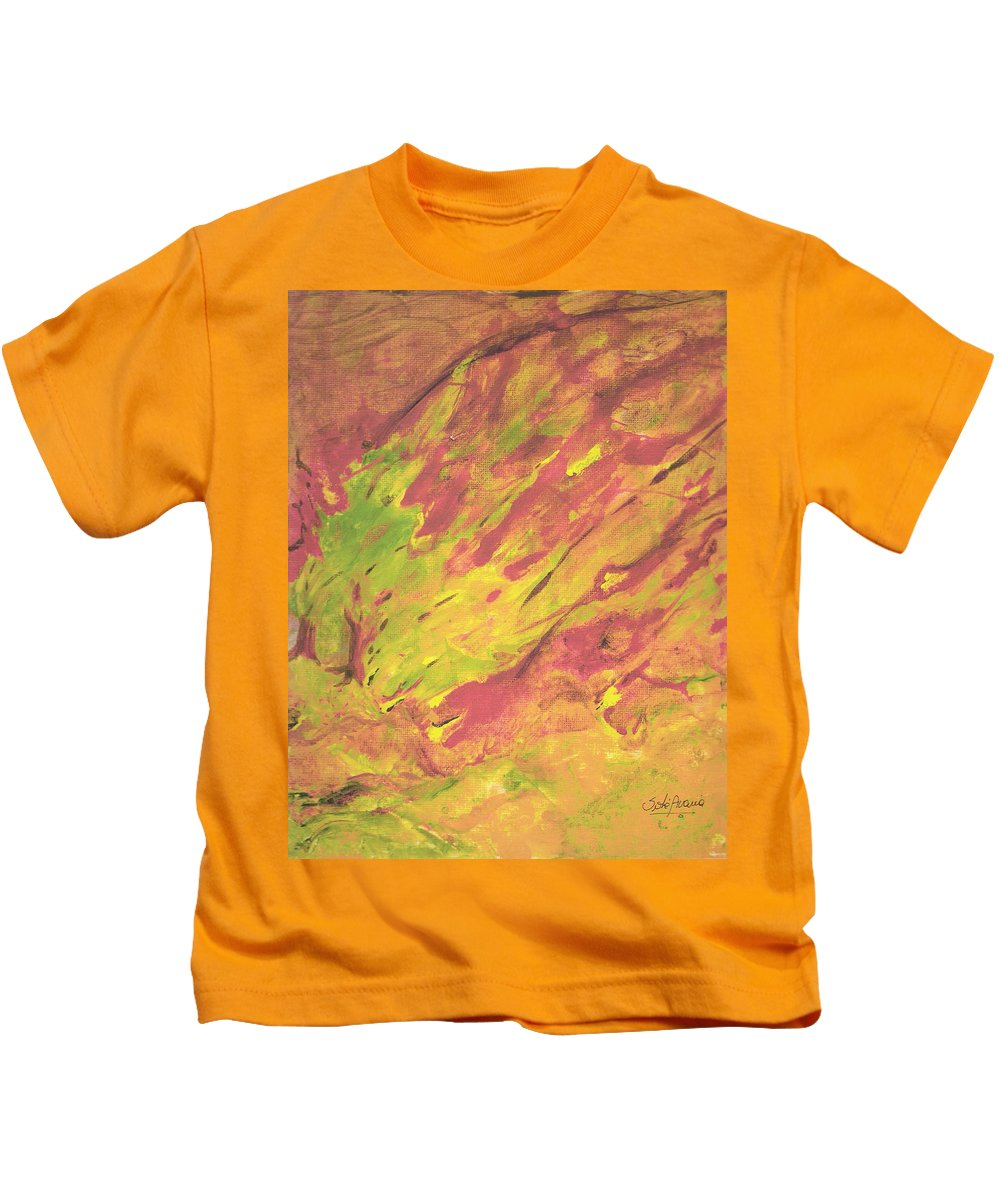 Fire Kids T-Shirt featuring the painting Vanishing Forest by Sole Avaria