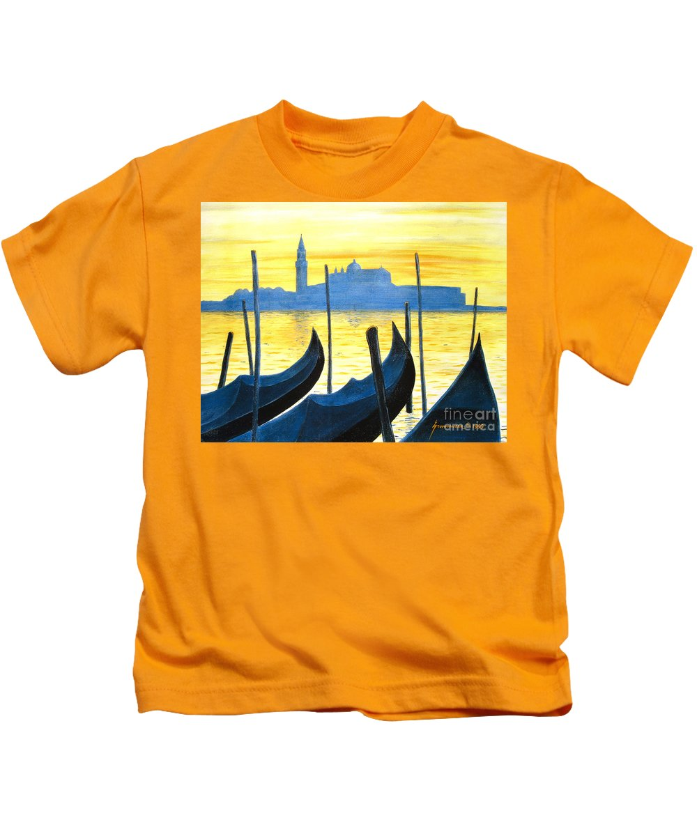 Venice Kids T-Shirt featuring the painting Venezia Venice Italy by Jerome Stumphauzer