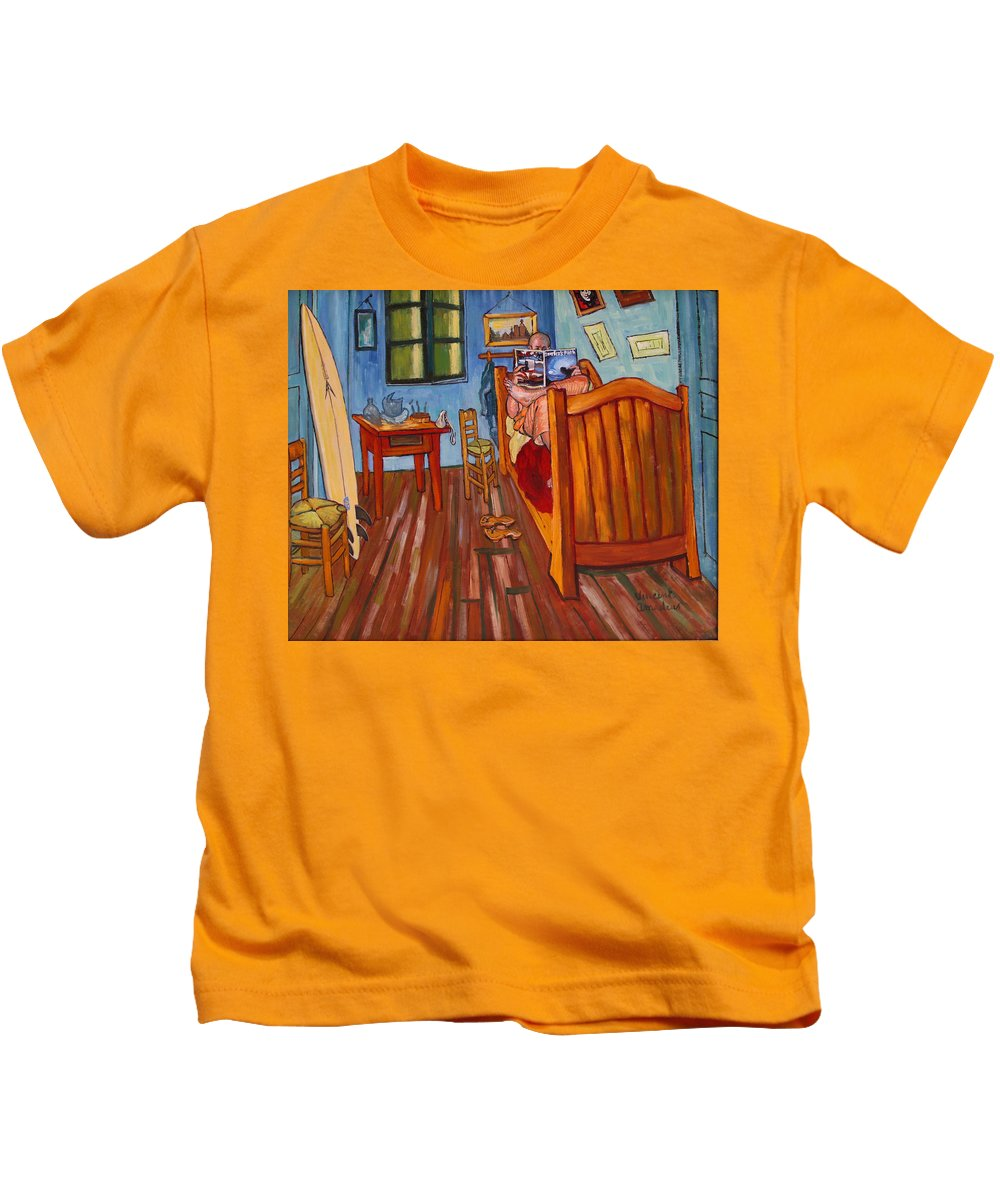 Van Gogh Kids T-Shirt featuring the painting Vincents Bedroom In Arles For Surfers-amadeus Series by Dominique Amendola
