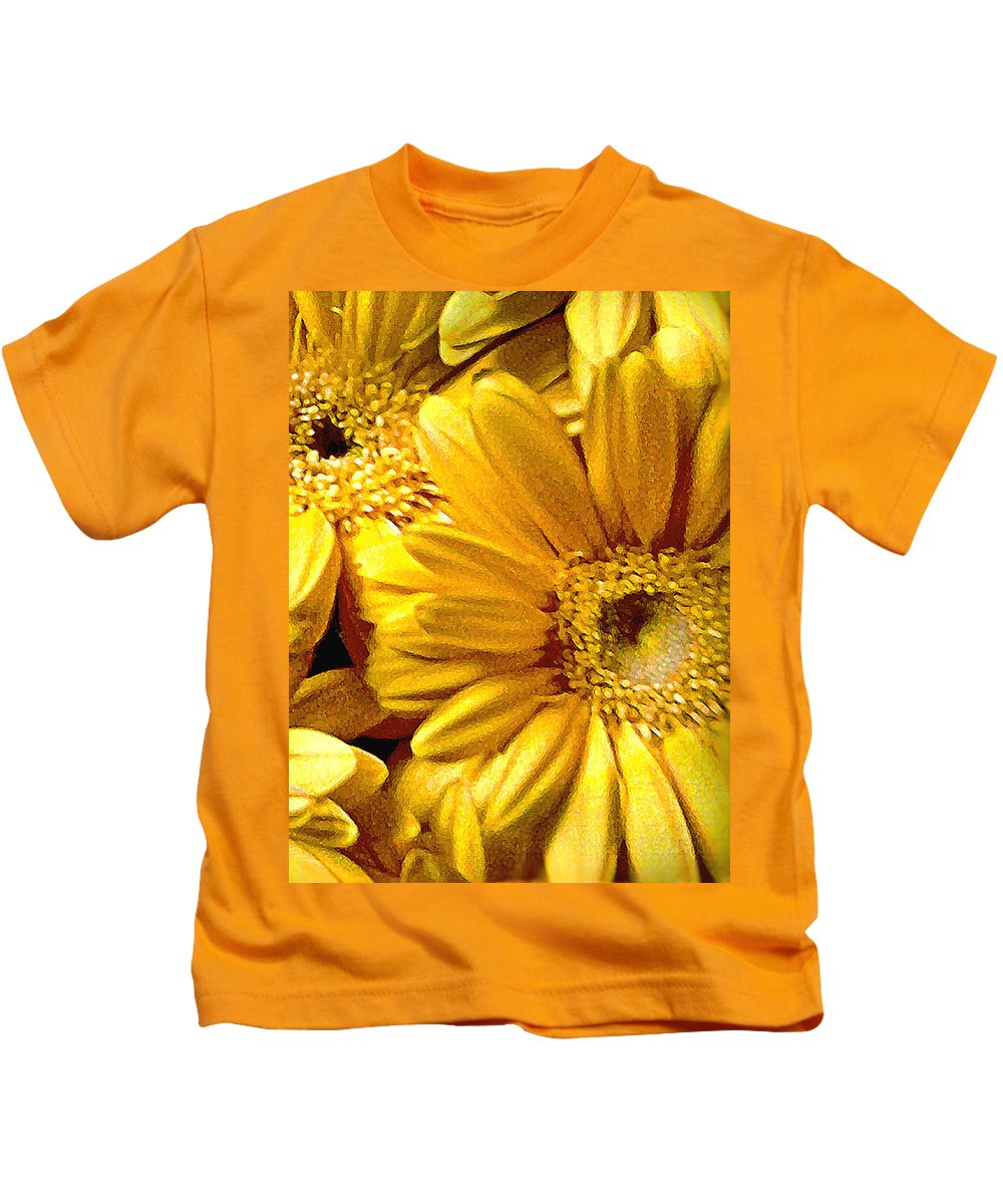 Floral Kids T-Shirt featuring the photograph Yellow Daisies by Doug Heslep