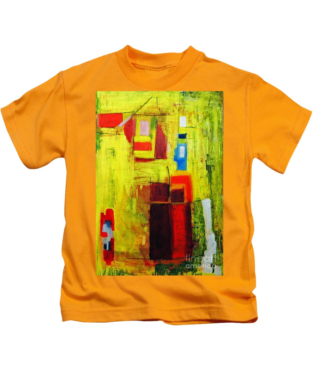 Abstract Painting Kids T-Shirt featuring the painting Yellow by Jeff Barrett
