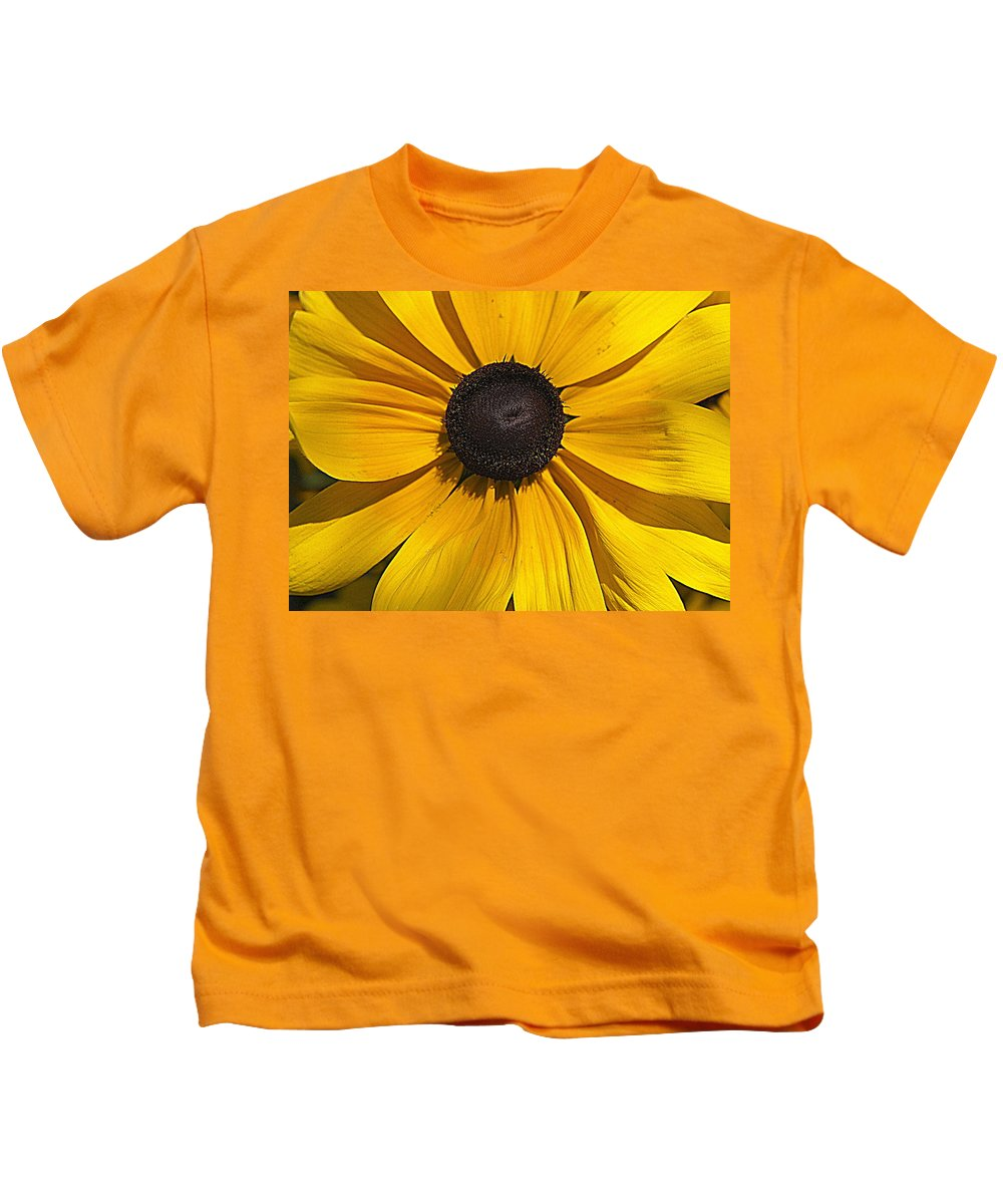 Yellow Flower Kids T-Shirt featuring the photograph Yellow Macro by Laurie Perry