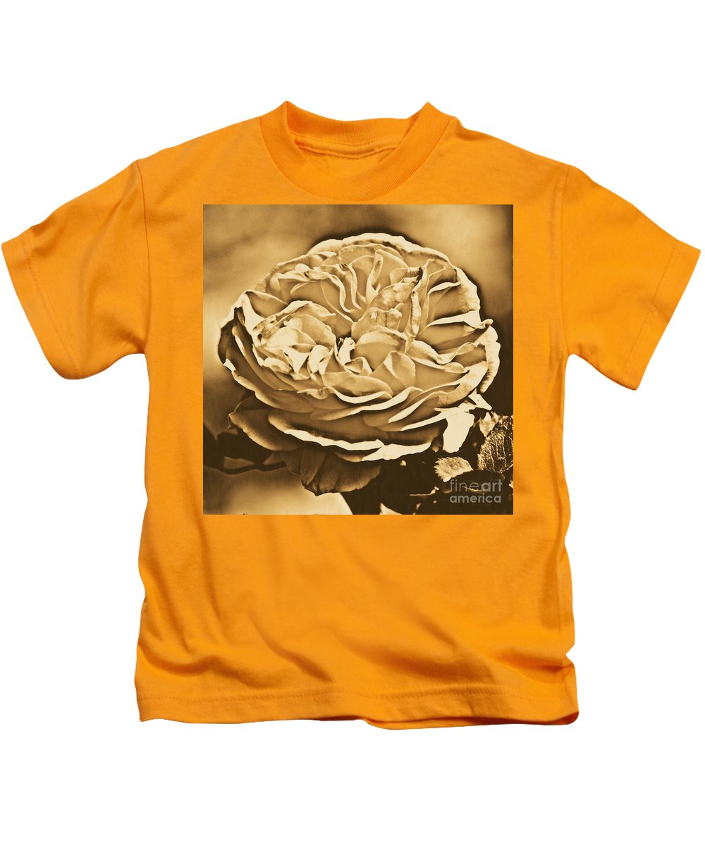 Travelpixpro Kids T-Shirt featuring the digital art Yellow Rose Of Texas Floral Decor Square Format Rustic Digital Art by Shawn O'Brien