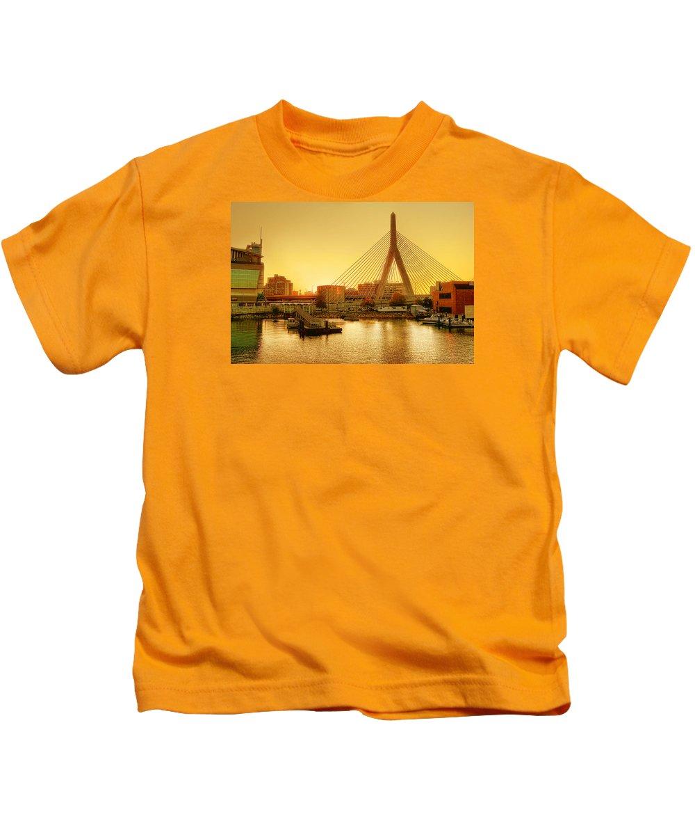 Zakim Kids T-Shirt featuring the photograph Zakim Bridge Sunset by Nikolyn McDonald