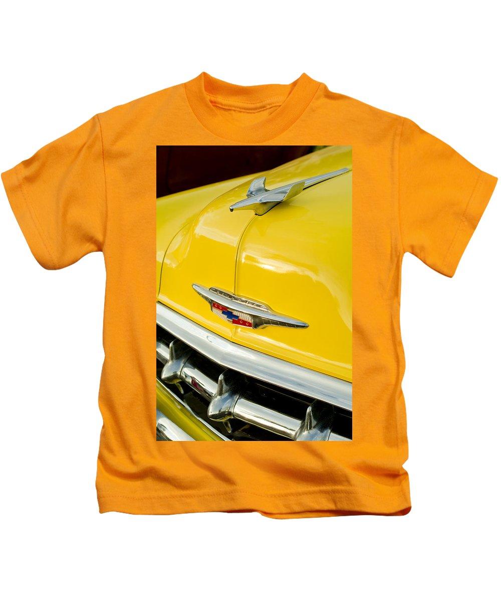 1954 Chevrolet Kids T-Shirt featuring the photograph 1954 Chevrolet Hood Ornament 4 by Jill Reger