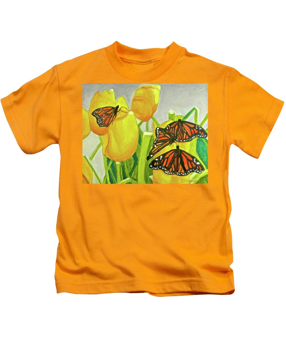 Butterfly Kids T-Shirt featuring the painting 4 Butterflies by Terry Lewey