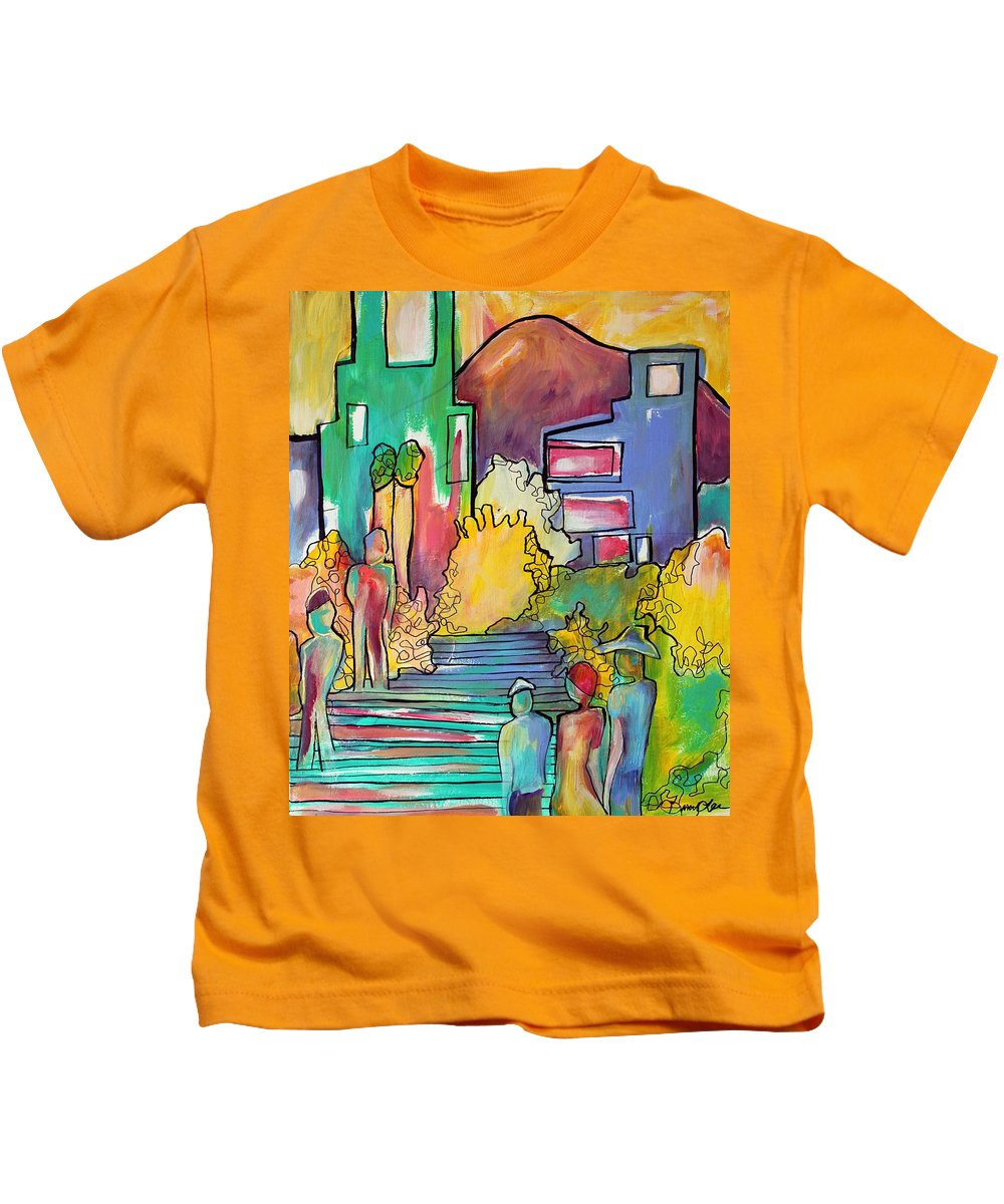 Figures Kids T-Shirt featuring the painting A Shared Story by Darcy Lee Saxton