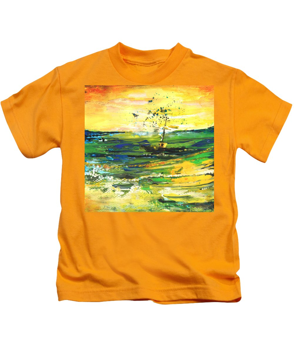 Impressions Kids T-Shirt featuring the painting Bathed In Golden Light by Miki De Goodaboom