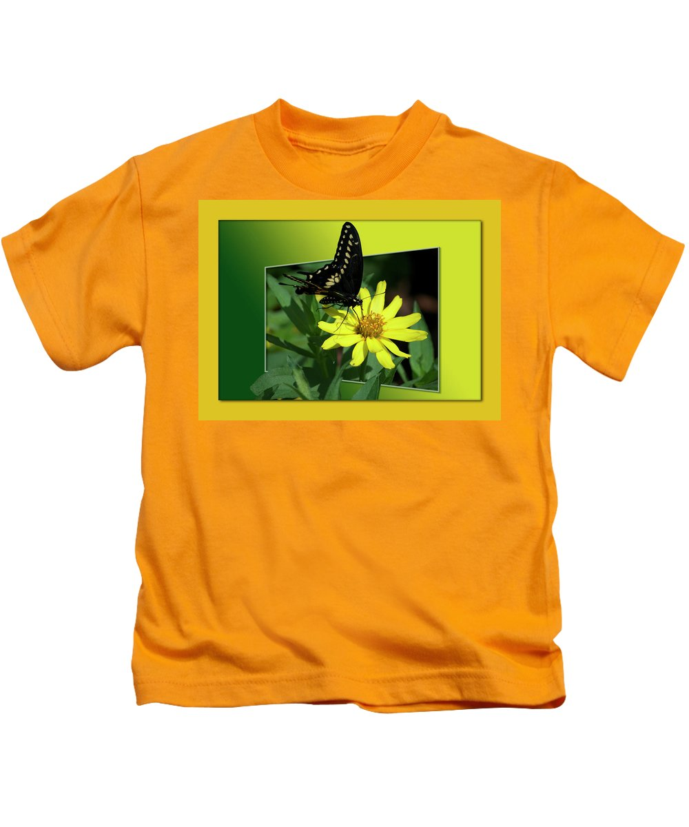 Test Kids T-Shirt featuring the photograph Butterfly Swallowtail 01 16 By 20 by Thomas Woolworth