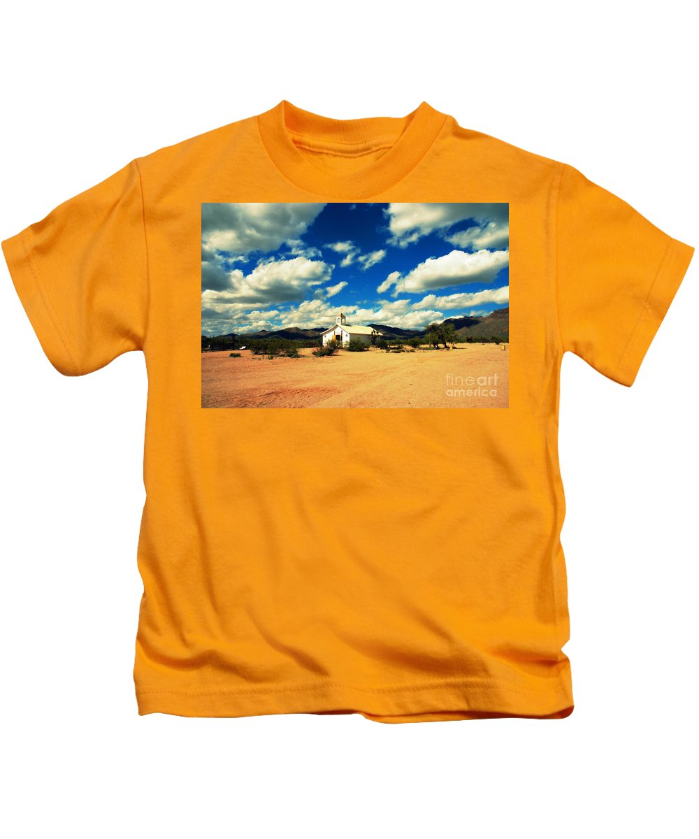 Old Tuscon Kids T-Shirt featuring the photograph Church In Old Tuscon Arizona by Susanne Van Hulst