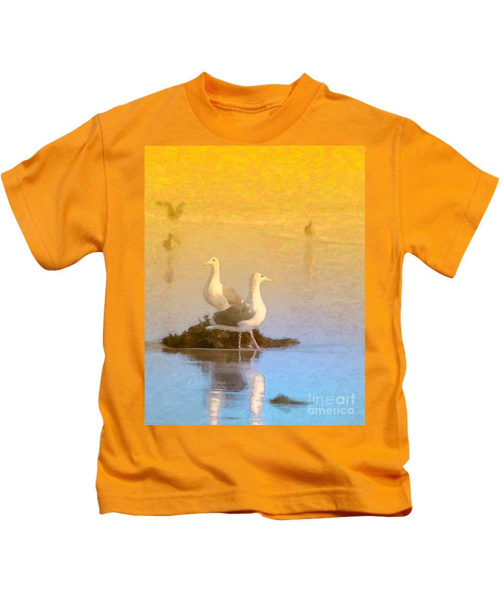 Seagull Kids T-Shirt featuring the photograph End Of The Day by Betty LaRue