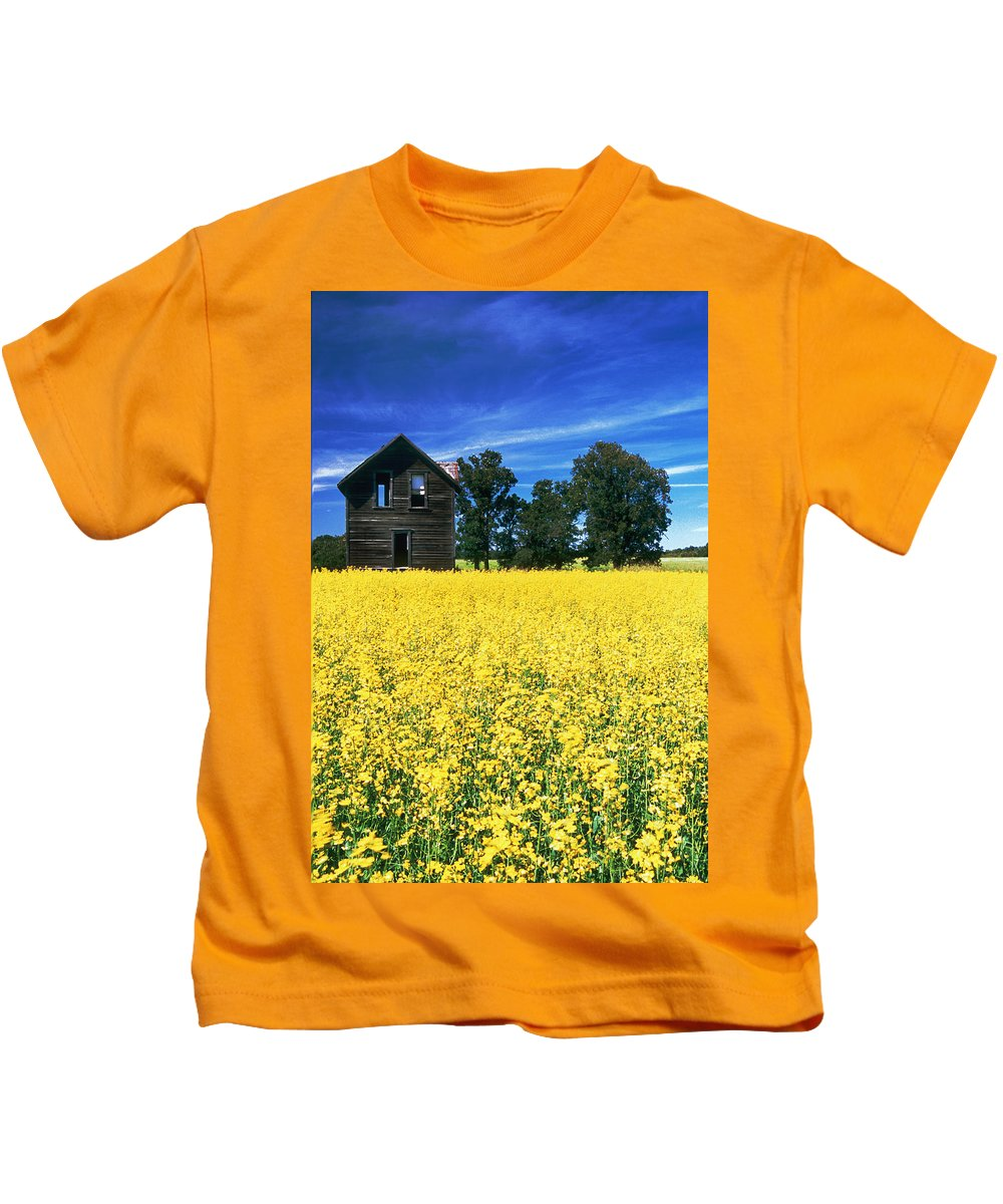 Canola Field Kids T-Shirt featuring the photograph Farm House And Canola Field, Holland by Dave Reede