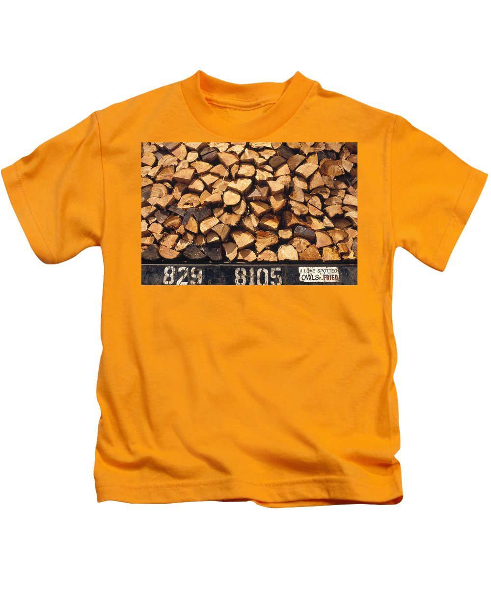 Mp Kids T-Shirt featuring the photograph Firewood Hauled From Clearcut On Truck by Gerry Ellis