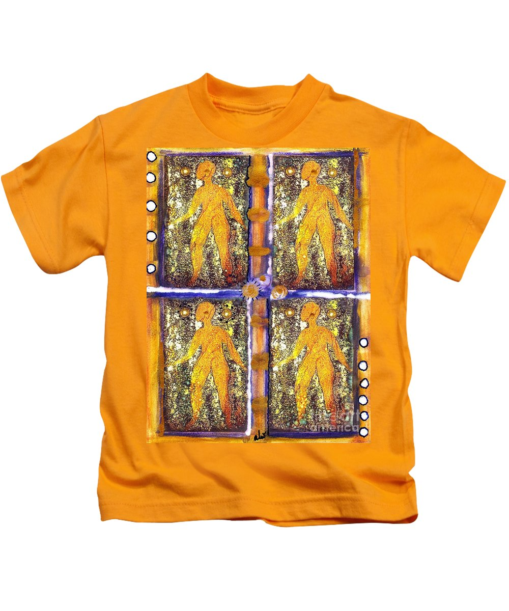 Spiritual Kids T-Shirt featuring the painting Four Women In One by Angela L Walker
