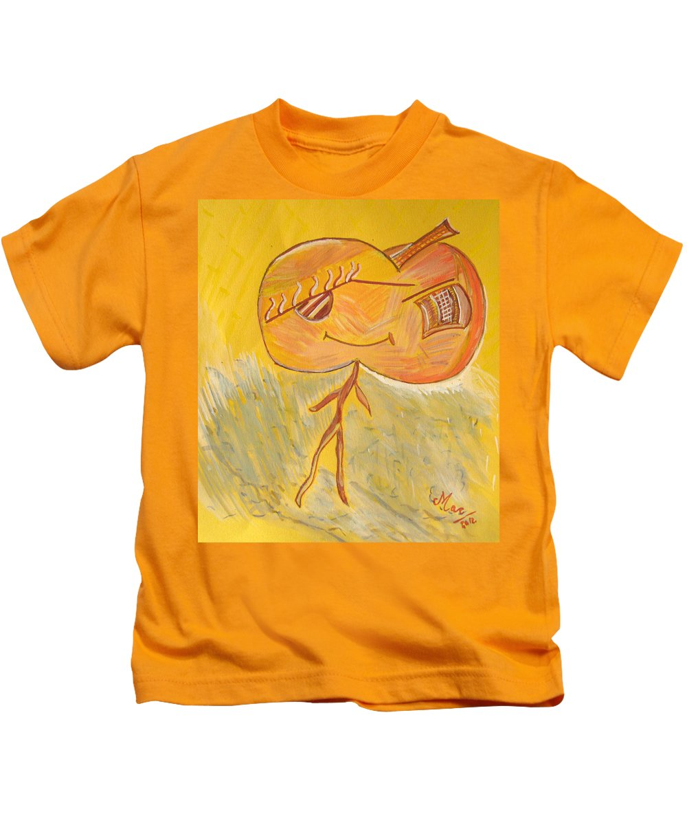 Apple Kids T-Shirt featuring the painting Happy Apple by Alina Cristina Frent