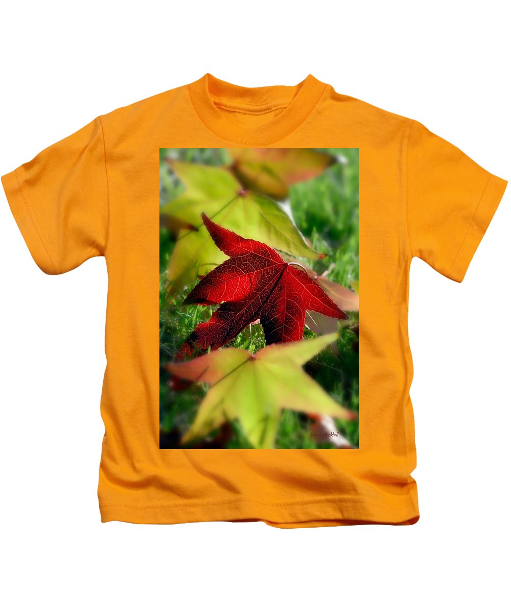 Leaves Kids T-Shirt featuring the photograph Leaves Of Grass by Donna Blackhall