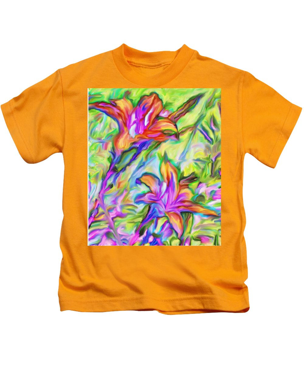 Flowers Kids T-Shirt featuring the photograph Lilies Transformed by Ian MacDonald