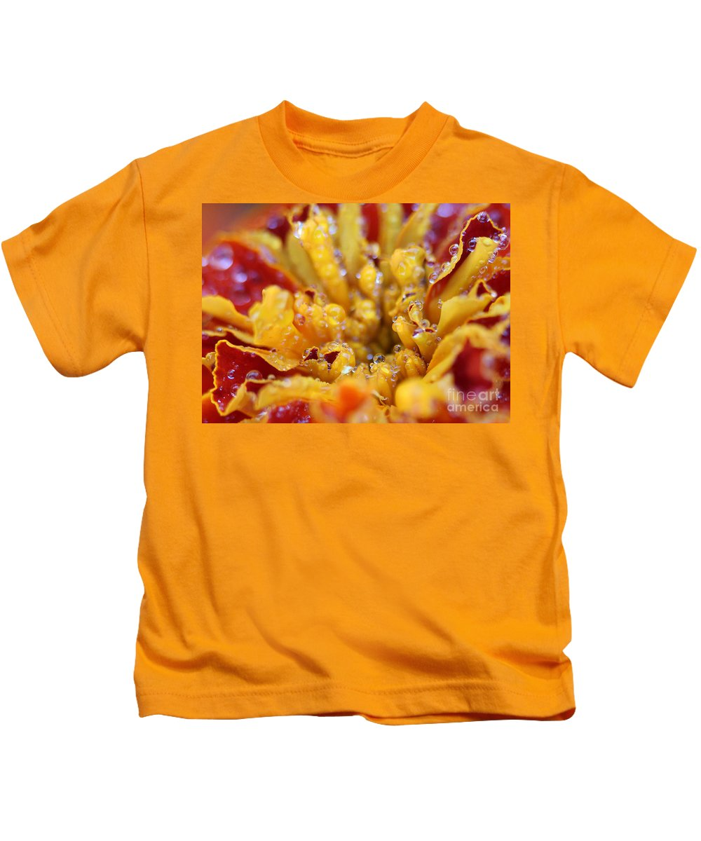 Marigold Kids T-Shirt featuring the photograph Marigold With Water Drops by Judi Bagwell