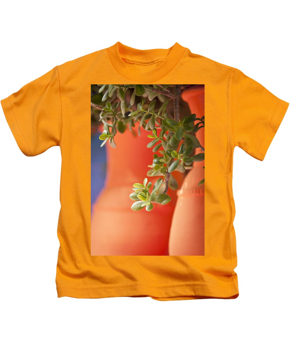 Orange Kids T-Shirt featuring the photograph Orange Pots Of The Jardin Marjorelle Morocco by Beth Riser