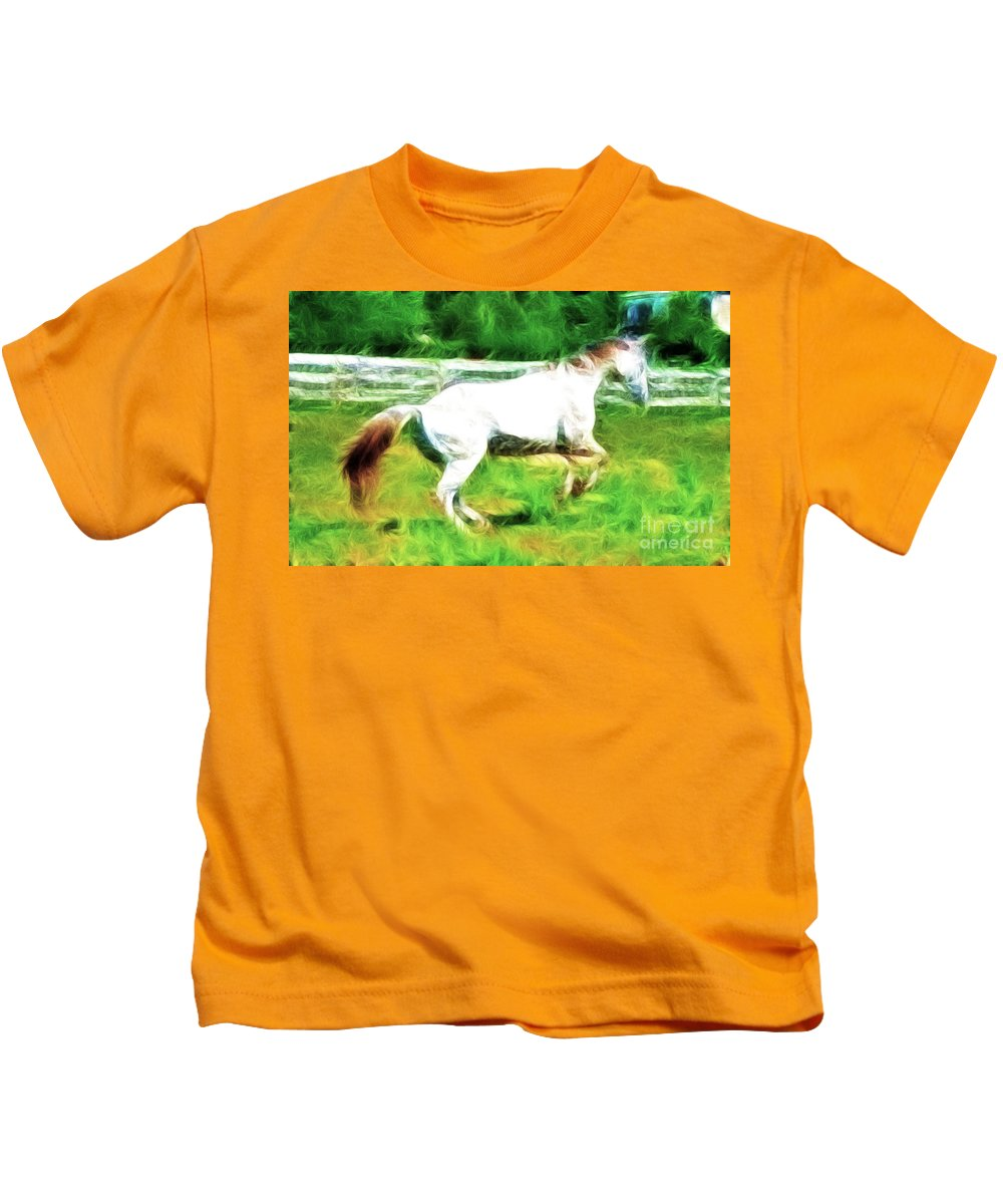 White Horse Kids T-Shirt featuring the photograph Pegasus Impression by Paul Ward