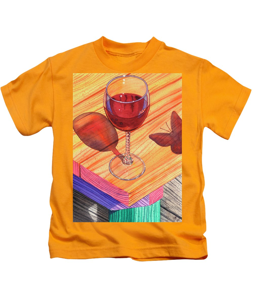 Wine Kids T-Shirt featuring the painting Pinot Noir by Catherine G McElroy