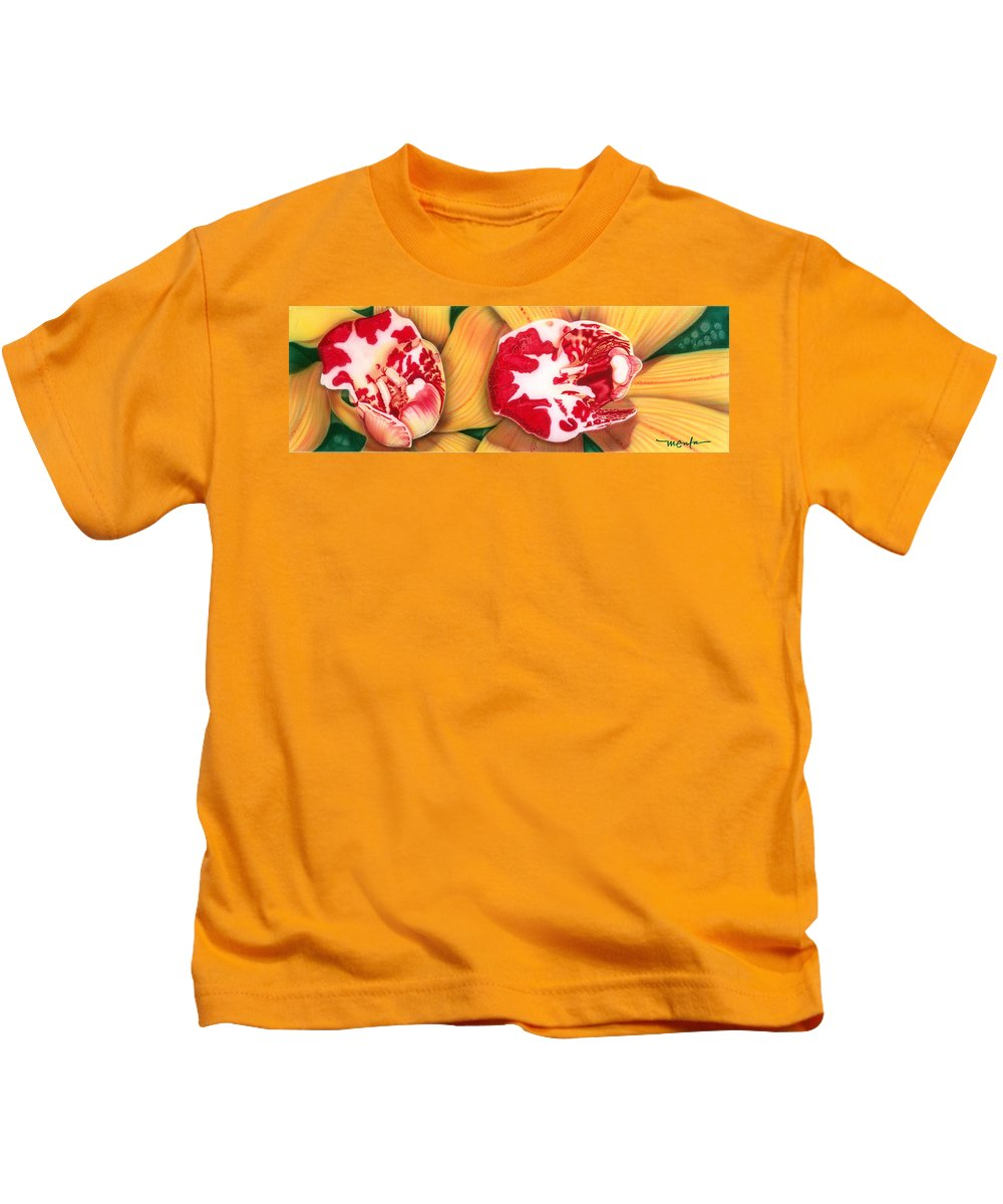 Flowers/orchids/yellow/white/red/ Kids T-Shirt featuring the painting Red White And Yellow by Dan Menta