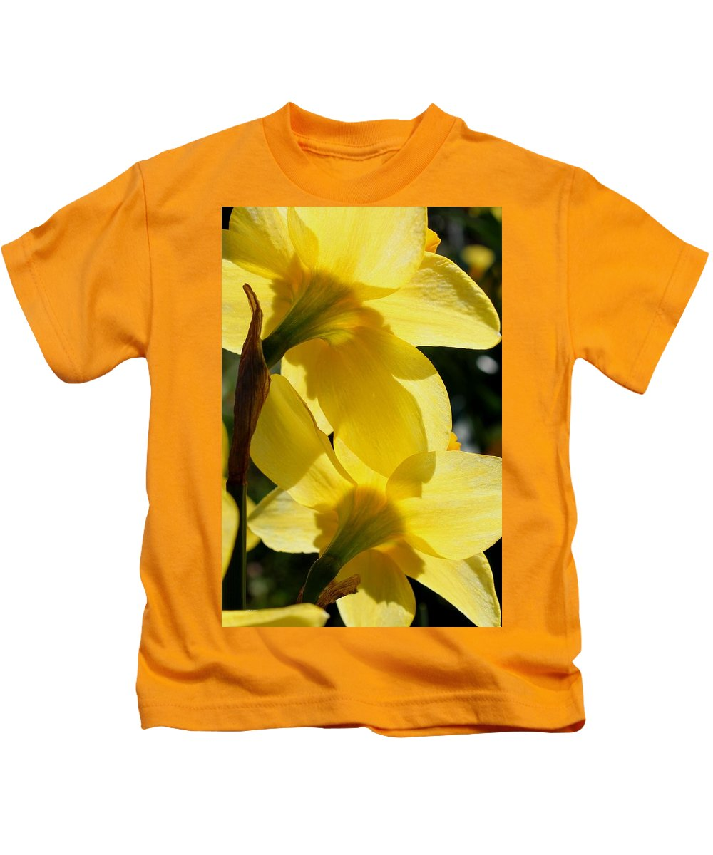 Daffodil Kids T-Shirt featuring the photograph Shadow Play by Betty Northcutt
