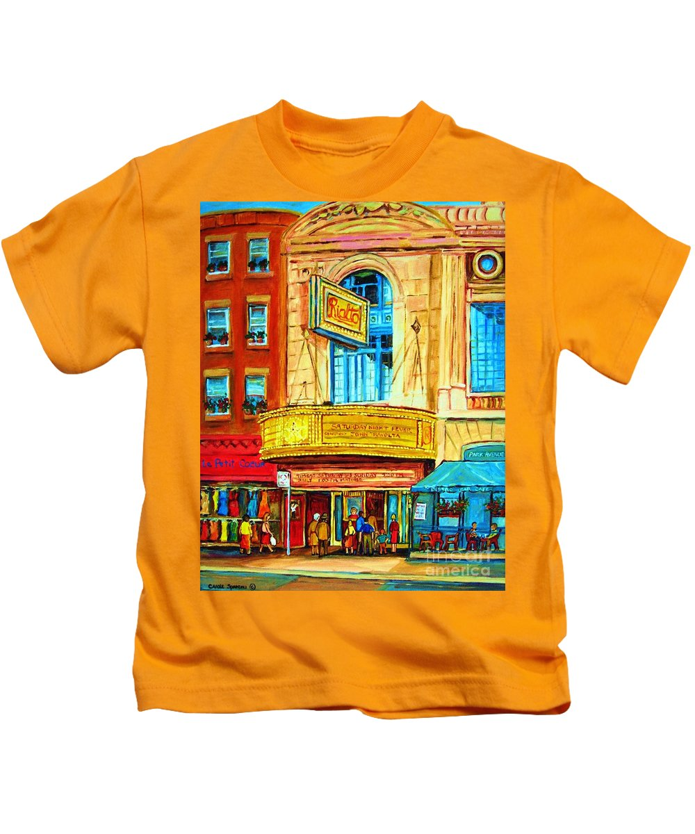 Street Scene Kids T-Shirt featuring the painting The Rialto Theatre by Carole Spandau