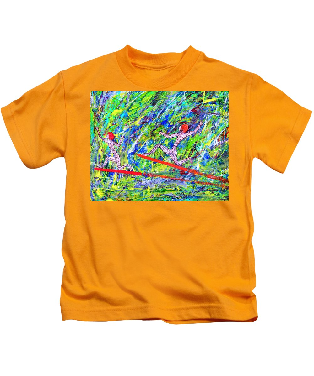 Abstract Kids T-Shirt featuring the painting Two Flying Surfers Two K O Nine by Carl Deaville