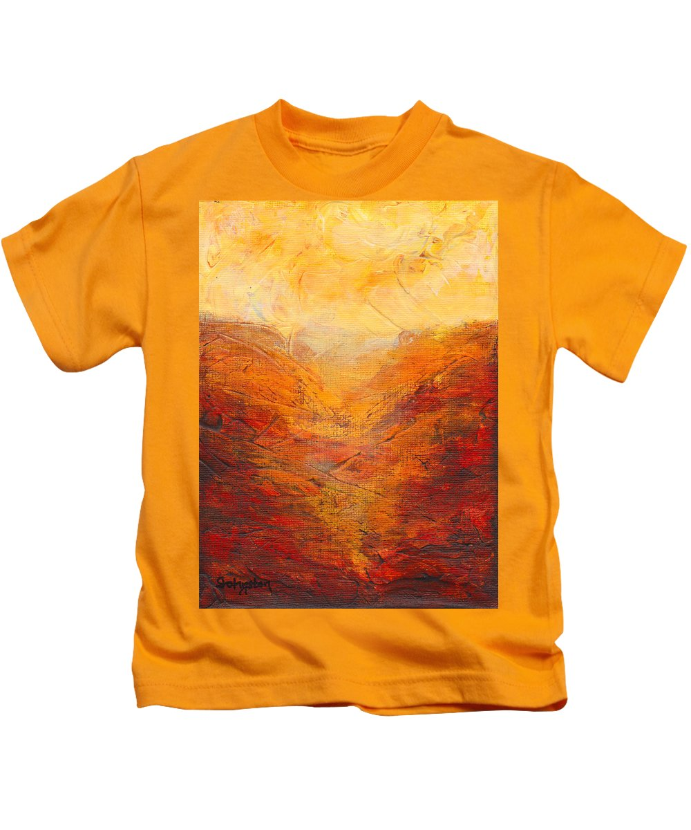 Gold Kids T-Shirt featuring the painting Valley Of Hope by Cindy Johnston