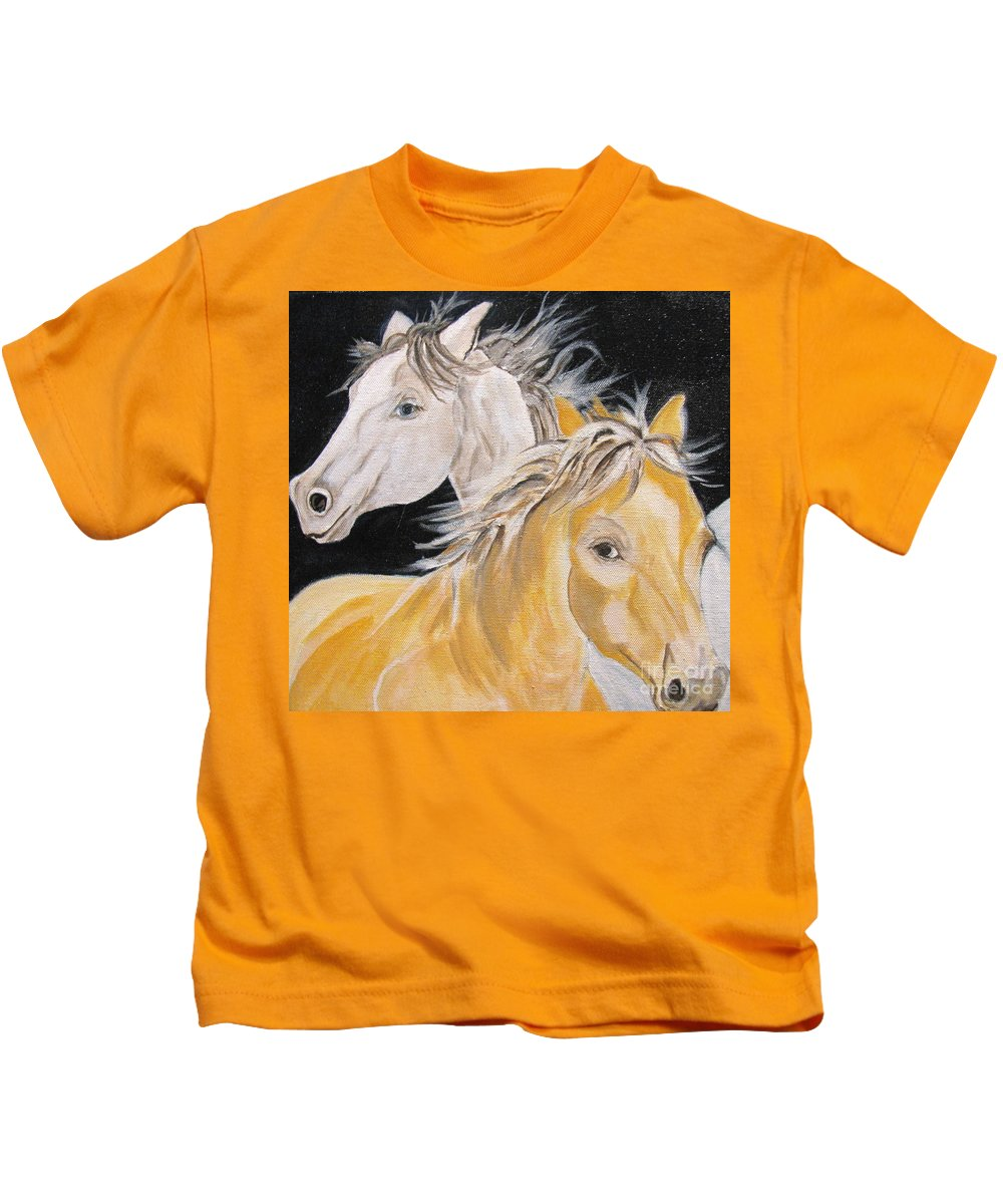 Horses Kids T-Shirt featuring the painting Love Story Part 2 by Donna Steward