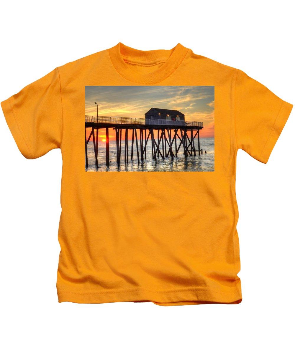Belmar Kids T-Shirt featuring the photograph Belmar Fishing Pier Sunrise by Bob Cuthbert
