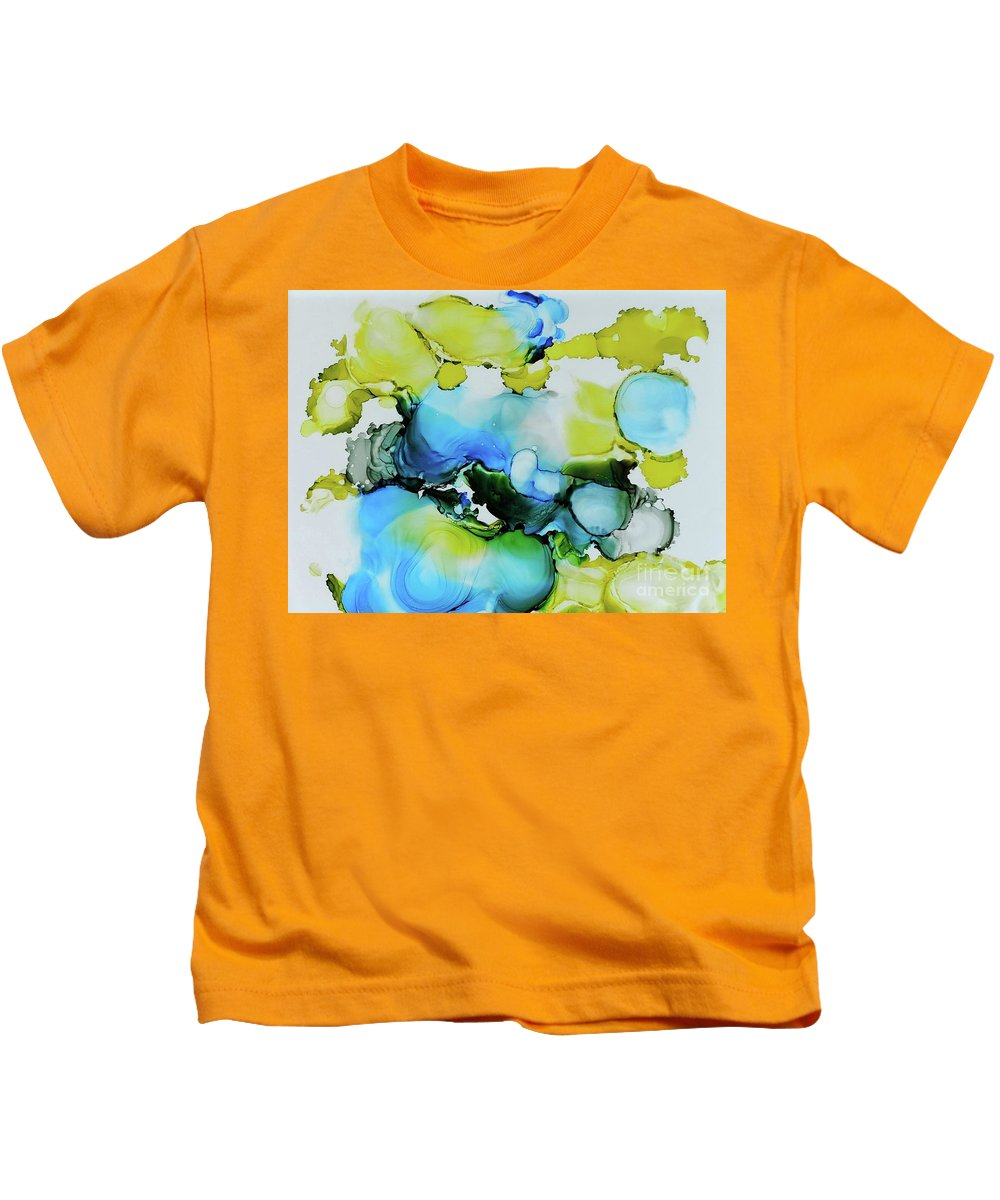 Abstract Kids T-Shirt featuring the painting Bubble Collection by Sean Brushingham