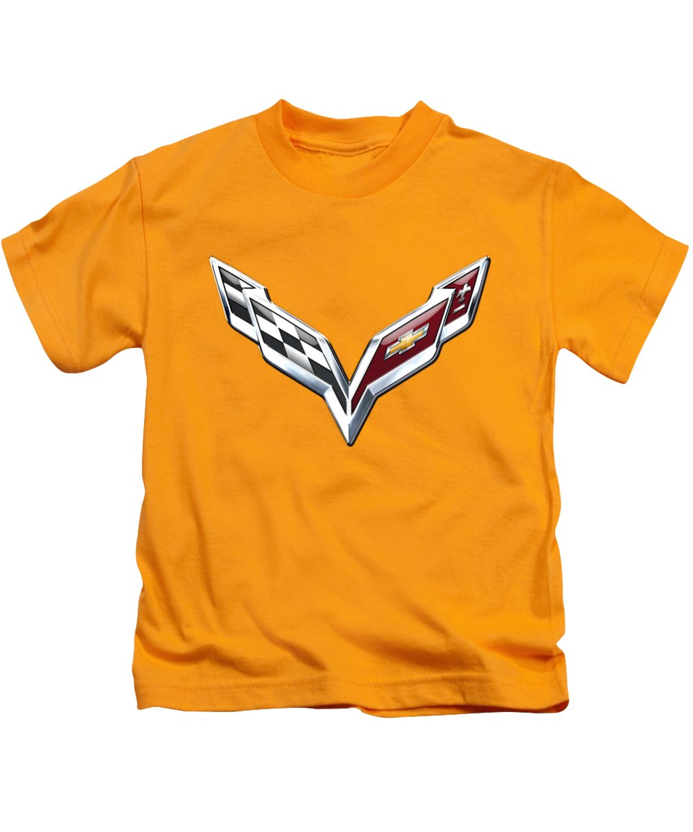 �wheels Of Fortune� Collection By Serge Averbukh Kids T-Shirt featuring the photograph Chevrolet Corvette 3D Badge on Yellow by Serge Averbukh