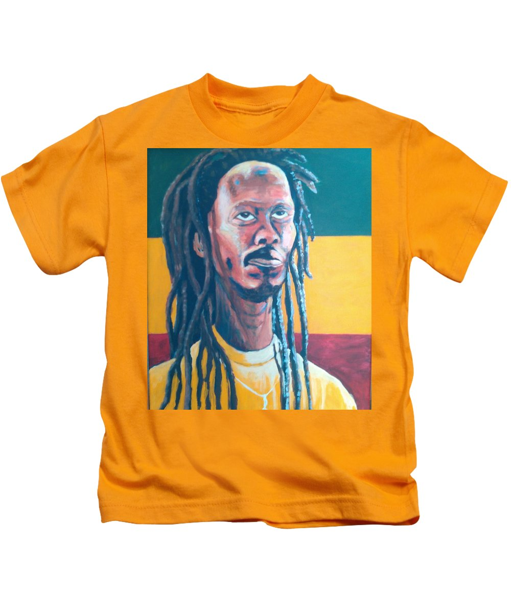 Rasta Portrait Kids T-Shirt featuring the painting ColorPS by Andrew Johnson