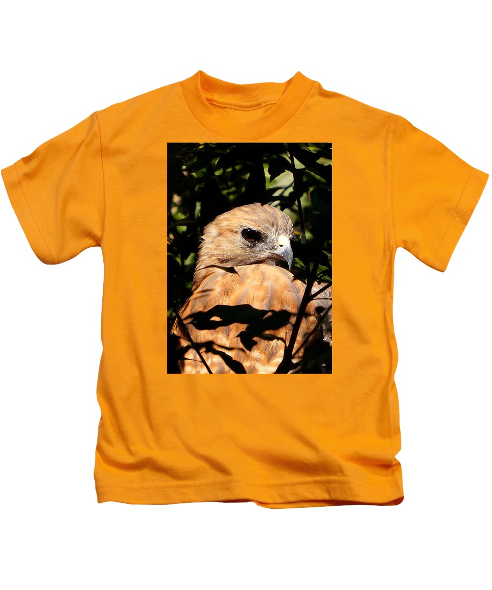 Ann Keisling Kids T-Shirt featuring the photograph Hiding In The Trees by Ann Keisling