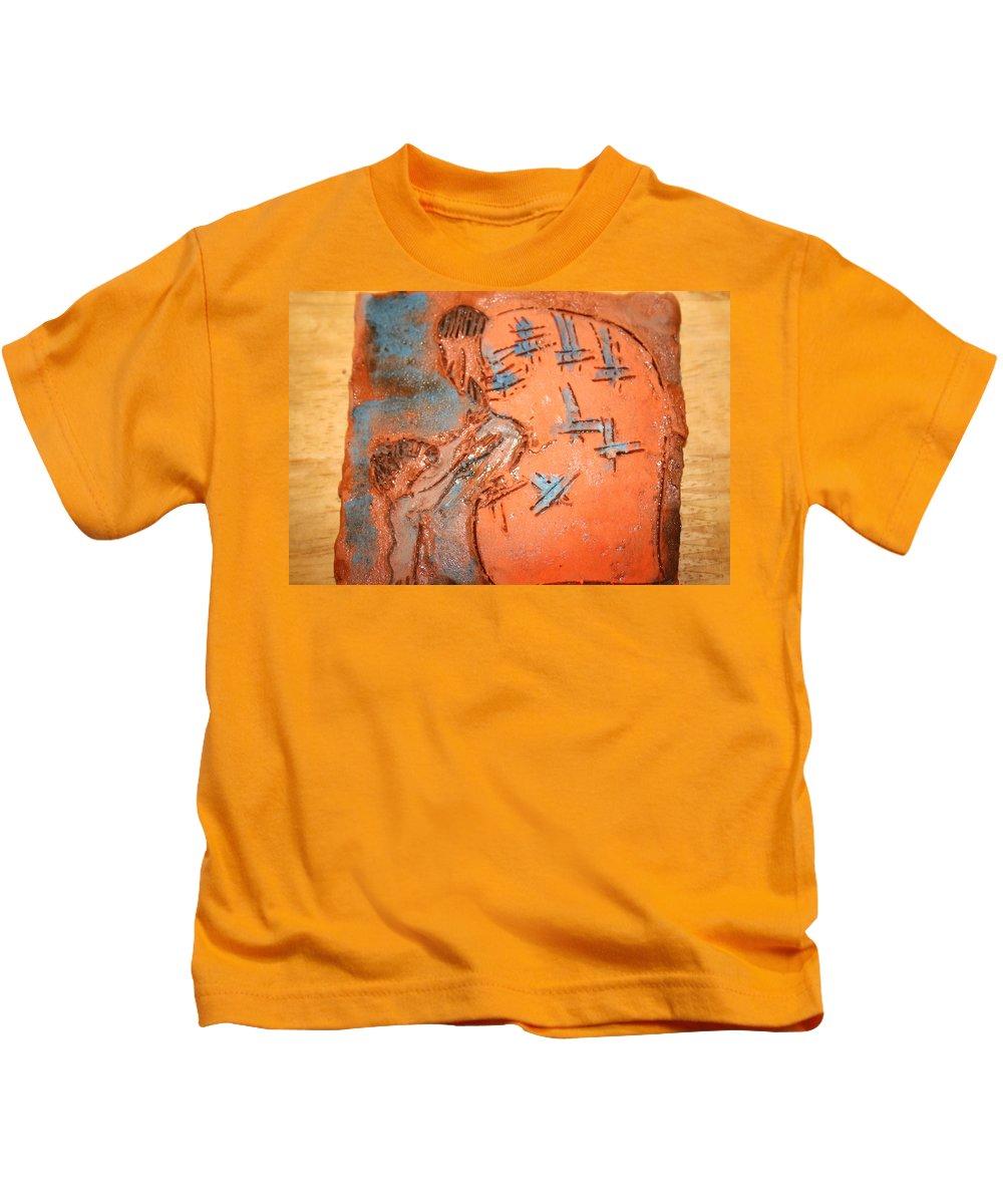 Jesus Kids T-Shirt featuring the ceramic art Kaweeke - Tile by Gloria Ssali