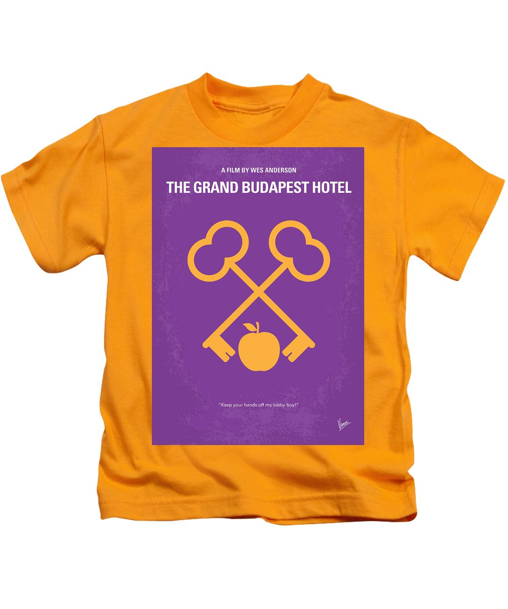 Grand Kids T-Shirt featuring the digital art No347 My The Grand Budapest Hotel Minimal Movie Poster by Chungkong Art