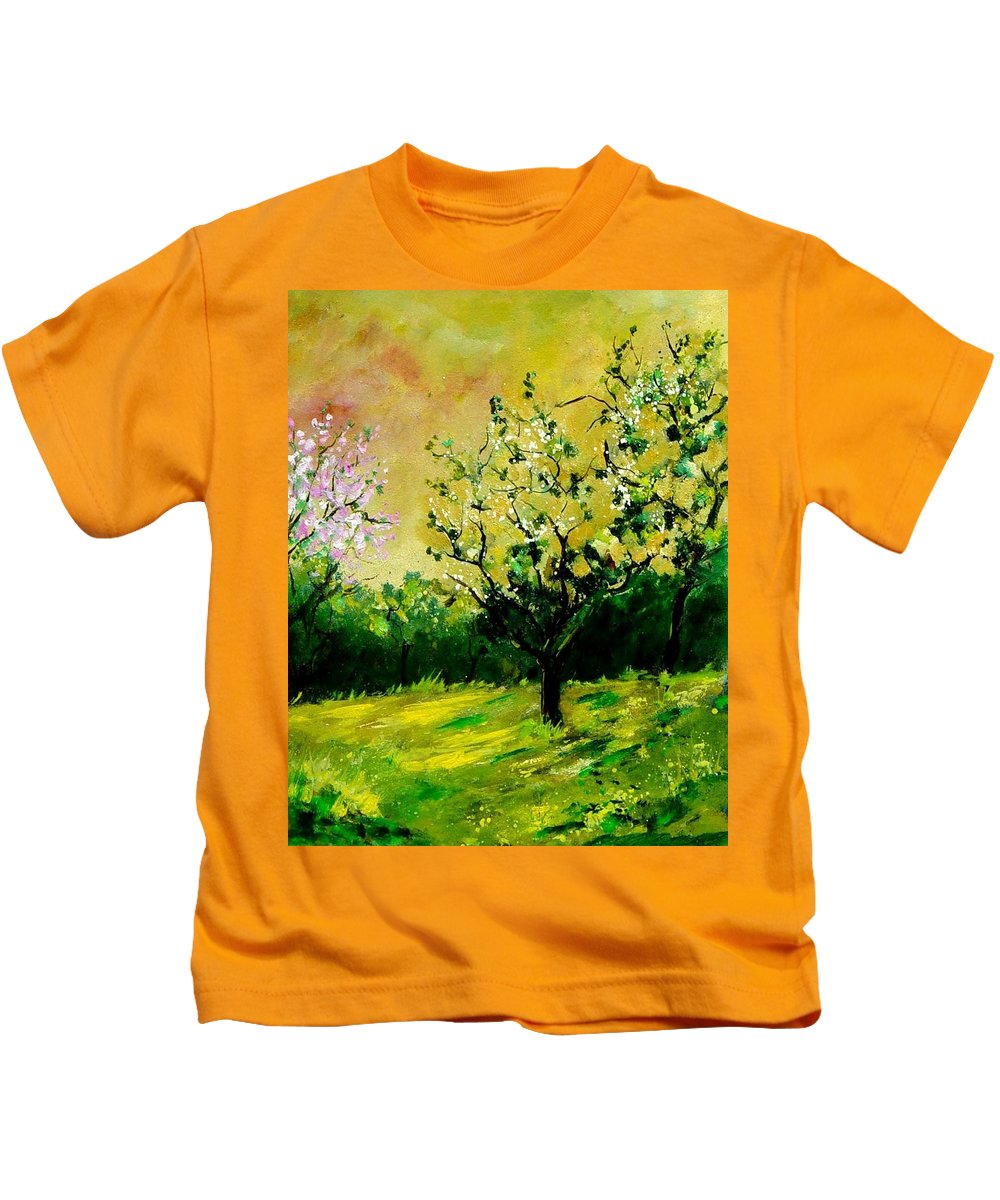 Landscape Kids T-Shirt featuring the painting Orchard by Pol Ledent